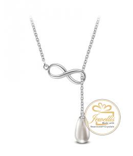 Ocelový náhrdelník Open Infinity Pearl ve tvaru nekonečno s perlou Swarovski - chirurgická ocel 316L