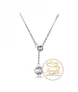 Ocelový náhrdelník Beaded Chaton s krystalem Swarovski - chirurgická ocel 316L
