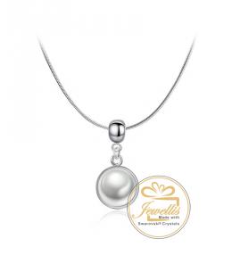 Ocelový náhrdelník Drop Button s perlou Swarovski - chirurgická ocel 316L