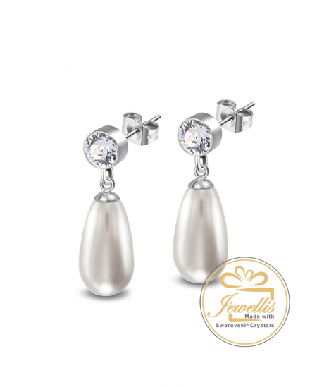 Ocelové náušnice Princess Chaton Pear s perlami a krystaly Swarovski - chirurgická ocel 316L