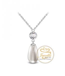 Ocelový náhrdelník Princess Chaton Pear s perlou a krystalem Swarovski - chirurgická ocel 316L