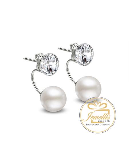 Ocelové dvojité náušnice Pearl Rivoli Double s perlami a krystaly Swarovski