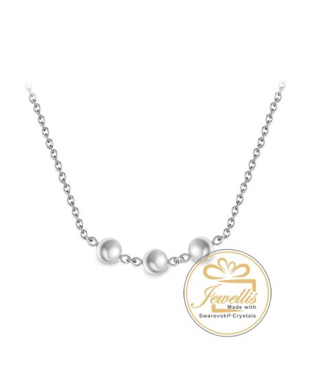 Ocelový náhrdelník Triple Pearls s perlami Swarovski - chirurgická ocel 316L