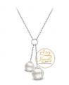 Ocelový náhrdelník Double Drop Pearls s perlami Swarovski - chirurgická ocel 316L