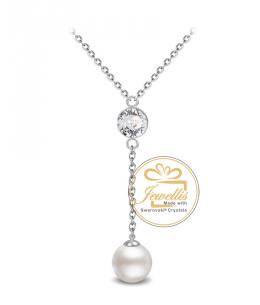 Ocelový náhrdelník Princess Long Pearl Ball s perlou a krystalem Swarovski - chirurgická ocel 316L
