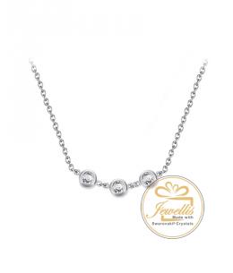 Ocelový náhrdelník Triple Minimalist s krystaly Swarovski - chirurgická ocel 316L