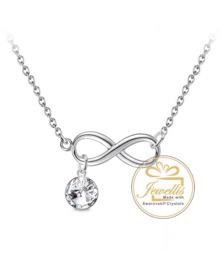 Ocelový náhrdelník Wide Infinity Rivoli ve tvaru nekonečno s krystalem Swarovski - chirurgická ocel 316L