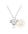 Ocelový náhrdelník Charms s krystalem a perlami Swarovski - chirurgická ocel 316L