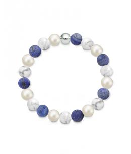 Náramek z přírodních kamenů a perly Swarovski - magnezit a lapis lazuli