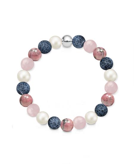 Náramek z přírodních kamenů a perly Swarovski - růženín, rodonit a dračí achát