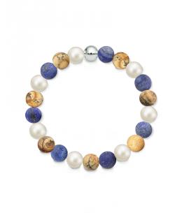 Náramek z přírodních kamenů a perly Swarovski - obrázkový jaspis a lapis lazuli