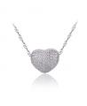 Stříbrný náhrdelník Diamond Heart - rhodiovaný přívěsek se zirkony a řetízek z pravého stříbra (925/1000)