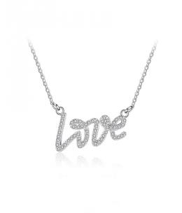 Stříbrný náhrdelník Micro Love - řetízek a přívěsek s nápisem LOVE se zirkony z pravého stříbra (925/1000)