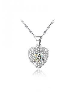 Stříbrný řetízek a přívěsek Heart Pave ve tvaru srdce se zirkony z pravého stříbra (925/1000)