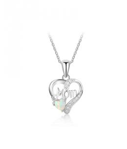 Stříbrný náhrdelník Heart Mom - řetízek a přívěsek ve tvaru srdce se zirkony a opálem z pravého stříbra (925/1000)