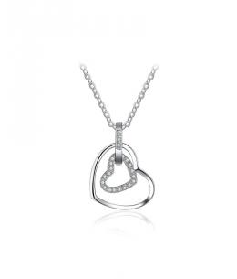 Stříbrný náhrdelník Sweet Heart - řetízek a přívěsek ve tvaru dvojitého srdce se zirkony z pravého stříbra (925/1000)