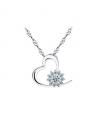 Stříbrný řetízek a přívěsek Flower Heart ve tvaru srdce se zirkony z pravého stříbra (925/1000)