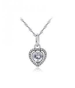 Stříbrný řetízek a přívěsek Sparkling ve tvaru srdce se zirkony z pravého stříbra (925/1000)