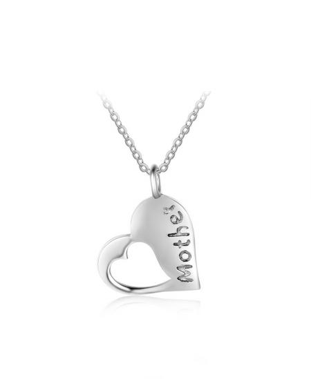 Stříbrný řetízek a přívěsek Pure Mother ve tvaru srdce z pravého stříbra (925/1000)