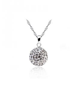 Stříbrný řetízek a přívěsek ve tvaru kuličky se zirkonovými krystalky z pravého stříbra (925/1000)