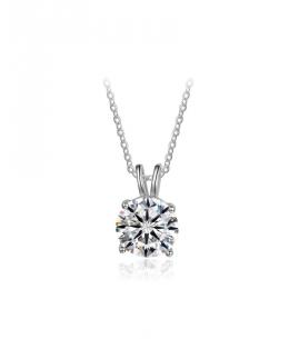 Stříbrný náhrdelník Zirconia Solitare - řetízek a přívěsek  se zirkonem z pravého stříbra (925/1000)