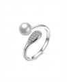Stříbrný prsten Infinity Pearl se zirkony a perlou z pravého stříbra (925/1000)