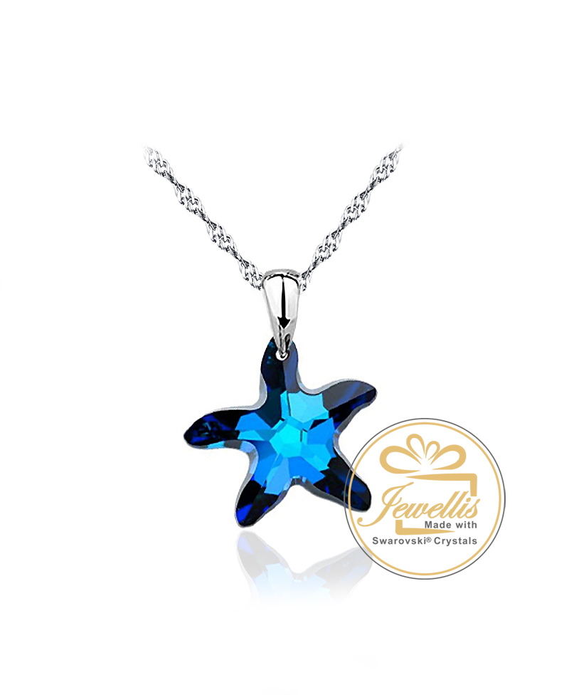 Stříbrný náhrdelník Starfish - řetízek a přívěsek s krystalem hvězdice  Swarovski z pravého stříbra (925 1000) 84415264d42