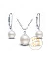 Stříbrný perlový set - náhrdelník a náušnice s perlami Swarovski z pravého stříbra (925/1000)