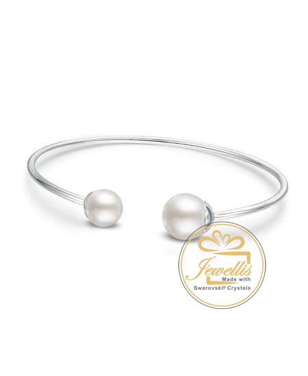 Ocelový náramek Bangle Pearls s perlami Swarovski - chirurgická ocel 316L