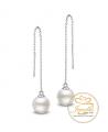 Ocelové náušnice řetízkové Dangle Pearls s perlami Swarovski - chirurgická ocel 316L