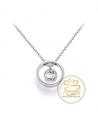 Ocelový náhrdelník Open Round Chaton s krystalem Swarovski - chirurgická ocel 316L