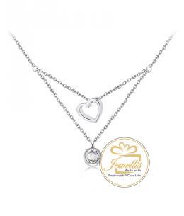 Ocelový náhrdelník Double Chatons s krystaly Swarovski - chirurgická ocel 316L