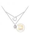 Ocelový dvojitý náhrdelník Doubles Heart ve tvaru srdce s krystalem Swarovski - chirurgická ocel 316L