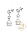 Ocelové visací náušnice Princess Triples Pearl s krystaly a perlami Swarovski - chirurgická ocel 316L
