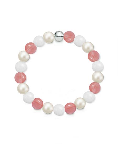 Náramek z přírodních kamenů a perly Swarovski - třešňový křemen a bílý jadeit