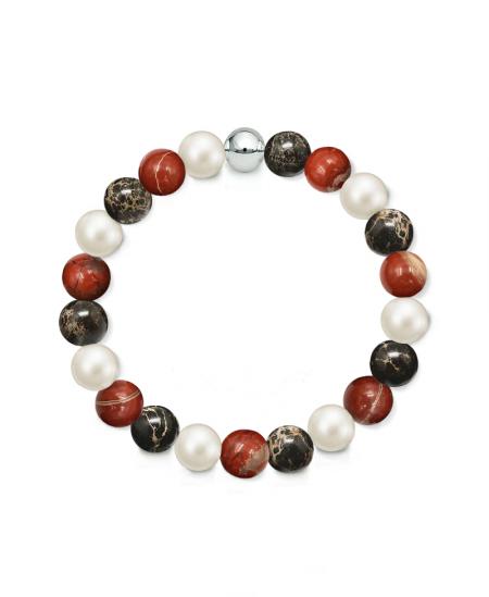 Náramek z přírodních kamenů a perly Swarovski - černý regalit a brekciový jaspis