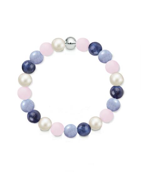 Náramek z přírodních kamenů a perly Swarovski - matný růženín, modrý křemen a sodalit