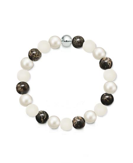 Náramek z přírodních kamenů a perly Swarovski - černý regalit a matný vápenec