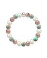 Náramek z přírodních kamenů a perly Swarovski - rodonit a tyrkysový regalit