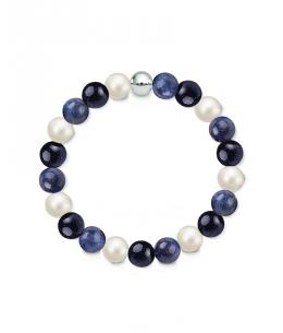 Náramek z přírodních kamenů a perly Swarovski - sodalit a modrý avanturín