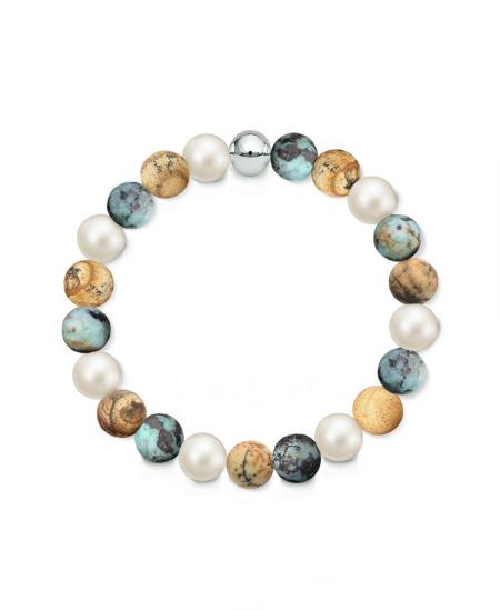 Náramek z přírodních kamenů a perly Swarovski - matný obrázkový jaspis a matný africký tyrkys