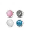 Ocelové visací náušnice Round Gemstone s přírodními kameny - chirurgická ocel 316L