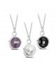 Ocelový náhrdelník Round Gemstone s přírodním kamenem - chirurgická ocel 316L