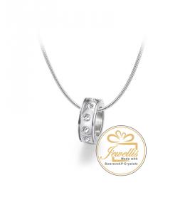 Ocelový náhrdelník Rondelle Charm s krystaly Swarovski - chirurgická ocel 316L