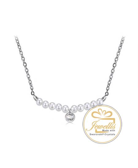 Ocelový náhrdelník Rondelle Chaton s krystaly a perlami Swarovski - chirurgická ocel 316L