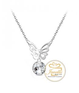 Ocelový náhrdelník Butterfly Rivoli s krystalem Swarovski - chirurgická ocel 316L