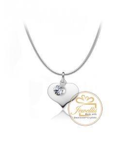 Ocelový náhrdelník ve tvaru srdce Heart Chaton s krystalem Swarovski - chirurgická ocel 316L