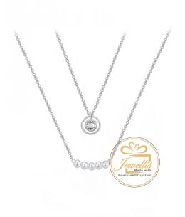 Ocelový dvojitý náhrdelník Pearls Ring s krystalem a perlami Swarovski - chirurgická ocel 316L