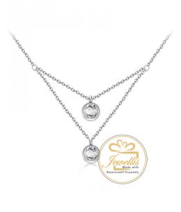 Dvojitý ocelový náhrdelník Two Chatons s krystaly Swarovski - chirurgická ocel 316L