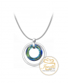 Ocelový náhrdelník ve tvaru kruhu Double Cosmic Ring Bermuda Blue s krystalem Swarovski - chirurgická ocel 316L